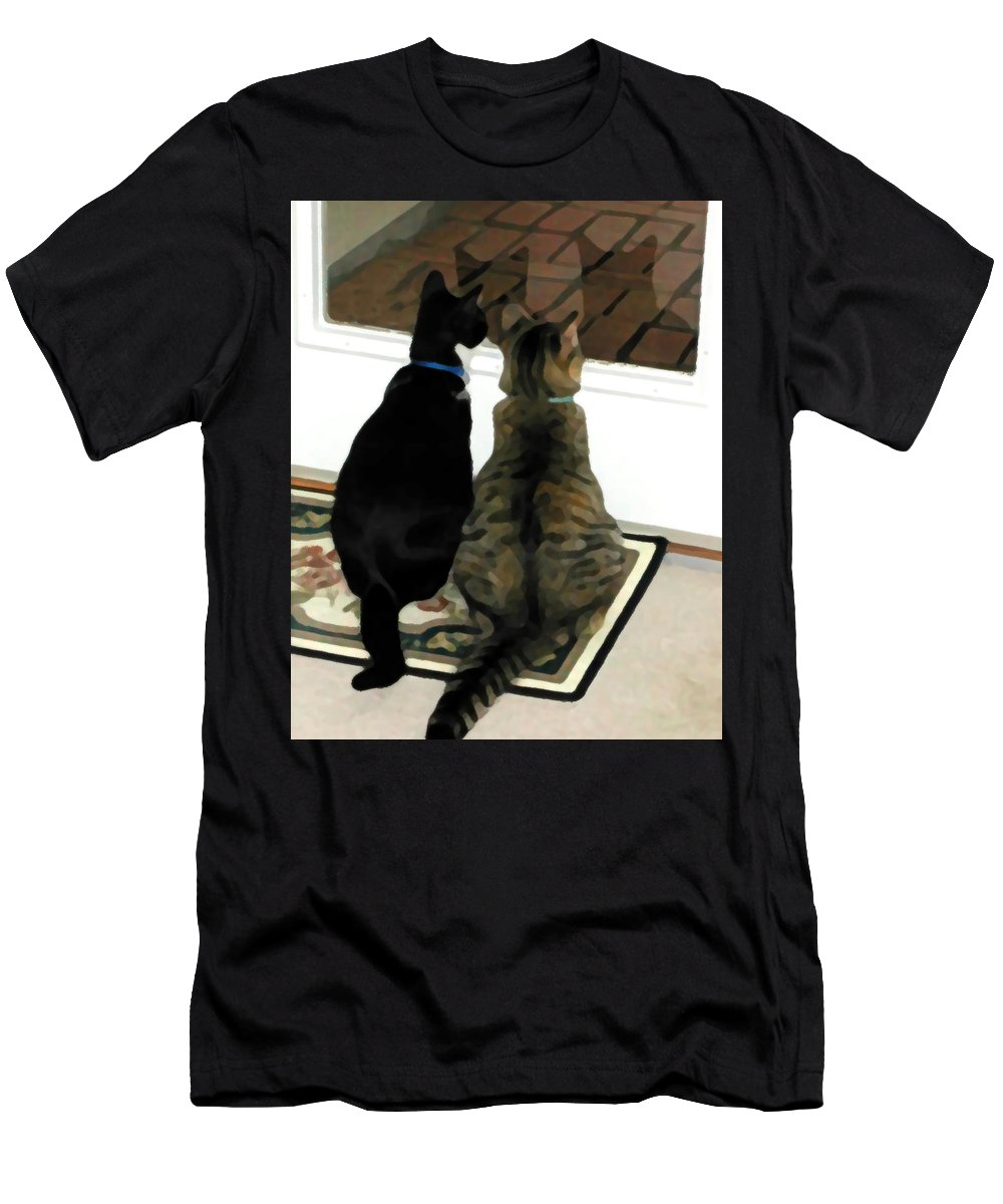 Black And White T-Shirt featuring the photograph What Do You See by Jeanne A Martin