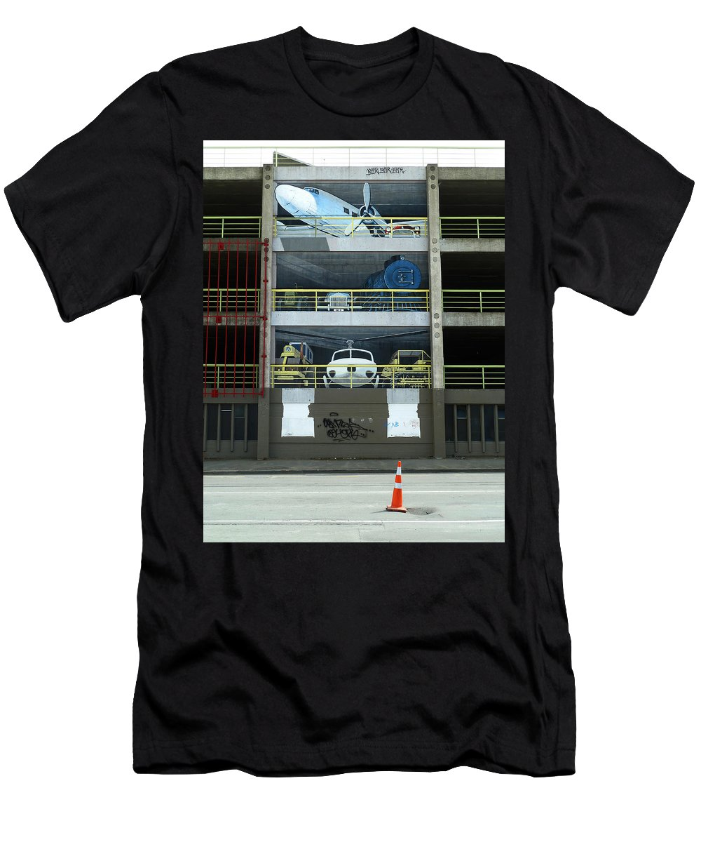 Multi-story Men's T-Shirt (Athletic Fit) featuring the photograph What Have You Left Behind In The Car Park? by Steve Taylor