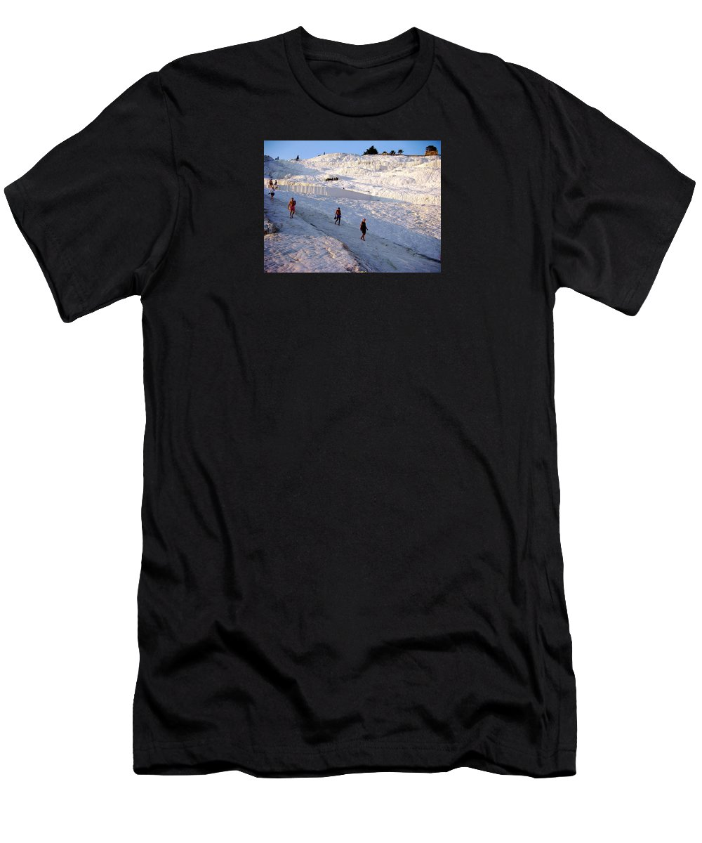 Pamukkale Men's T-Shirt (Athletic Fit) featuring the photograph What Is Wrong In This Picture by Zafer Gurel