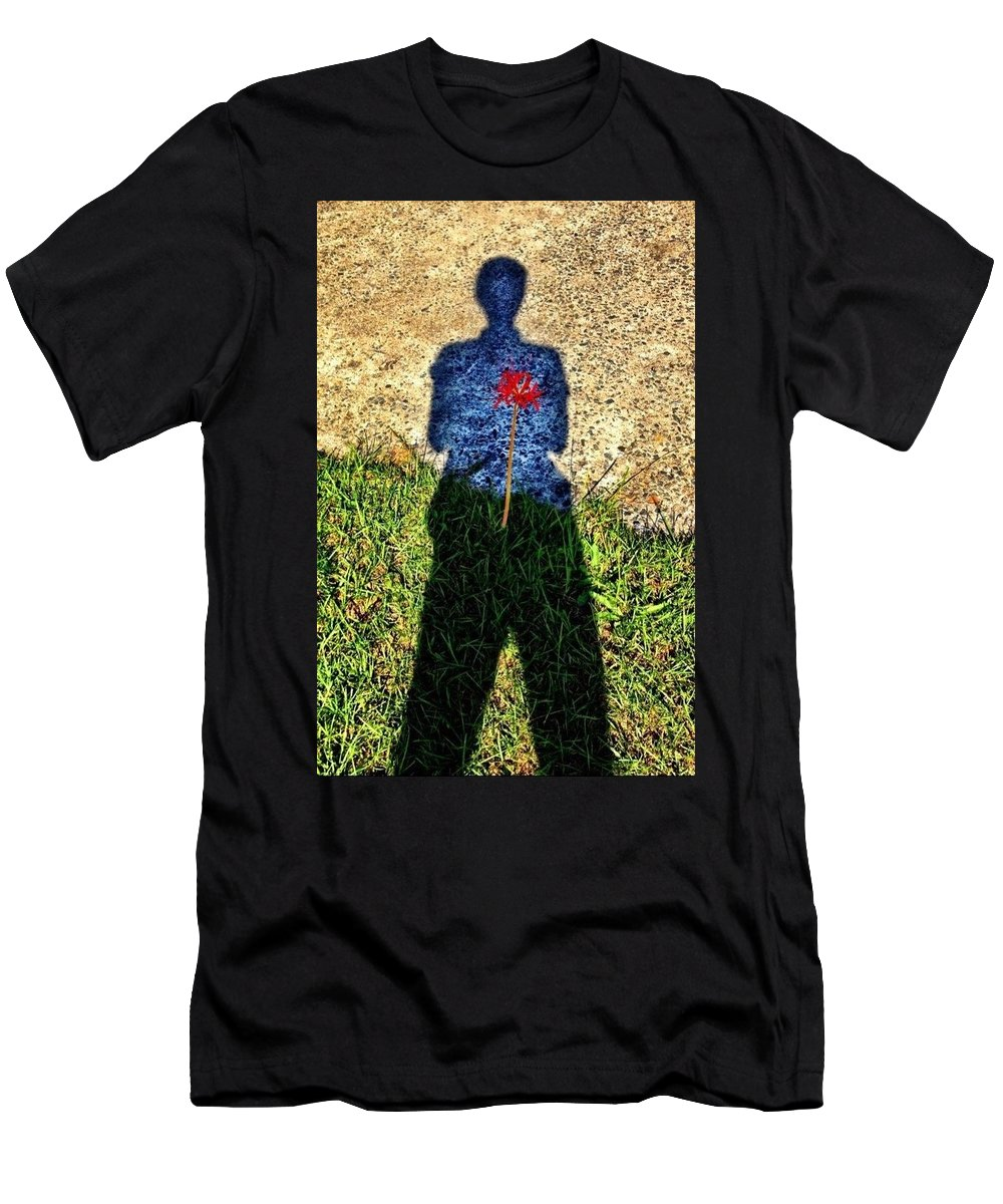Spider Lilly Men's T-Shirt (Athletic Fit) featuring the photograph What's In Your Heart ? by Michele Monk