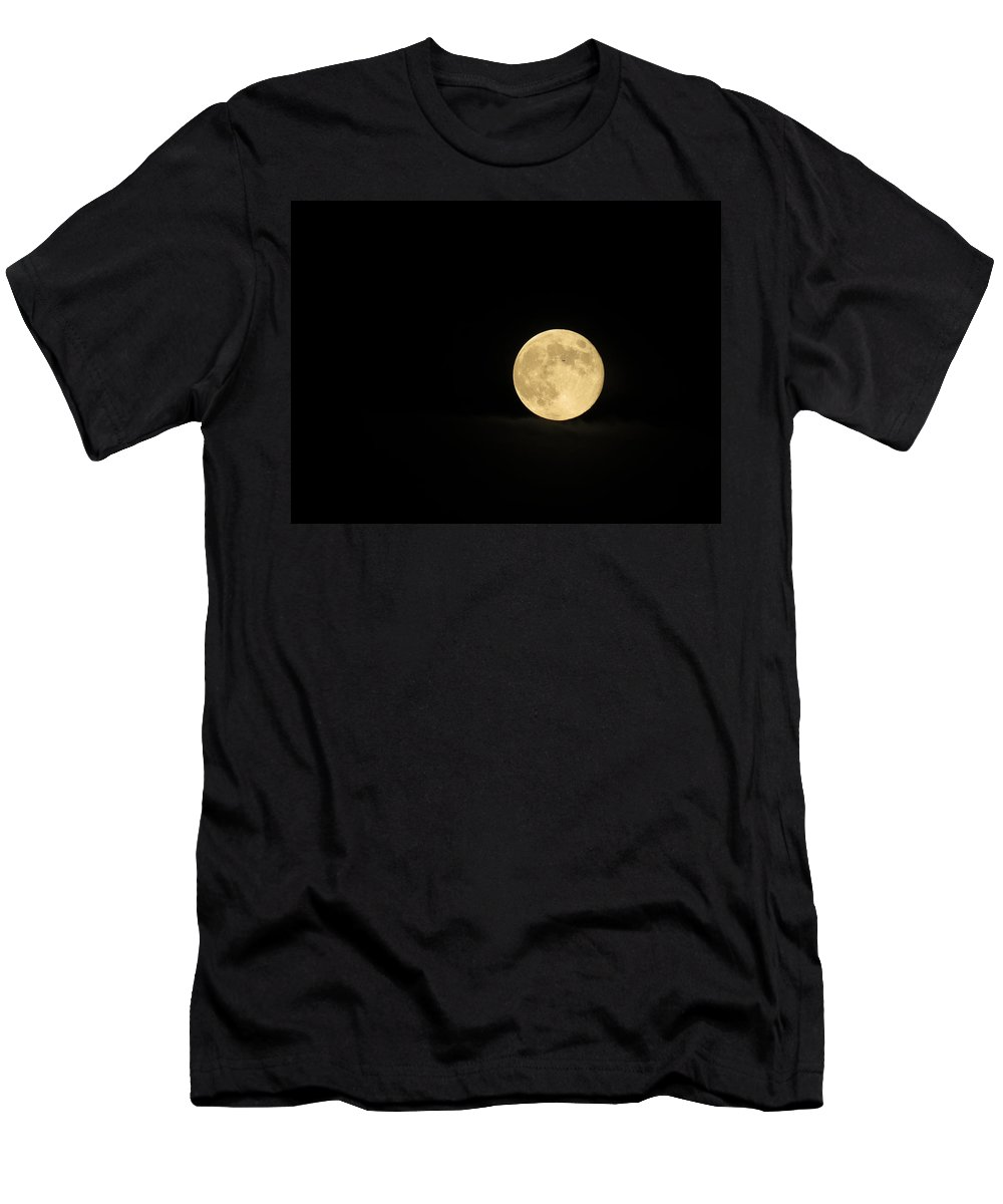 Moon Men's T-Shirt (Athletic Fit) featuring the photograph What's That Speck by Laurel Powell