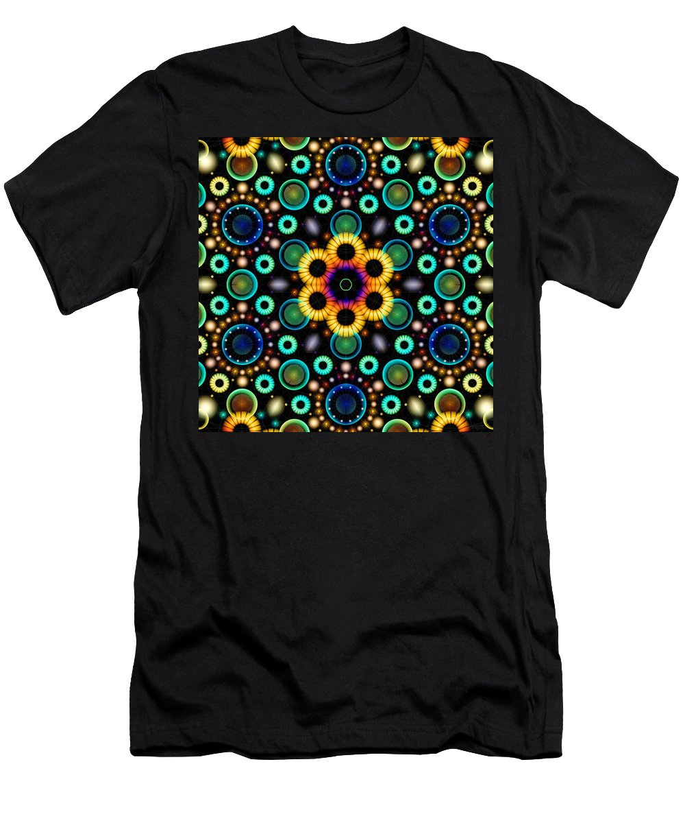 Wheels Of Light Men's T-Shirt (Athletic Fit) featuring the digital art Wheels Of Light by Derek Gedney