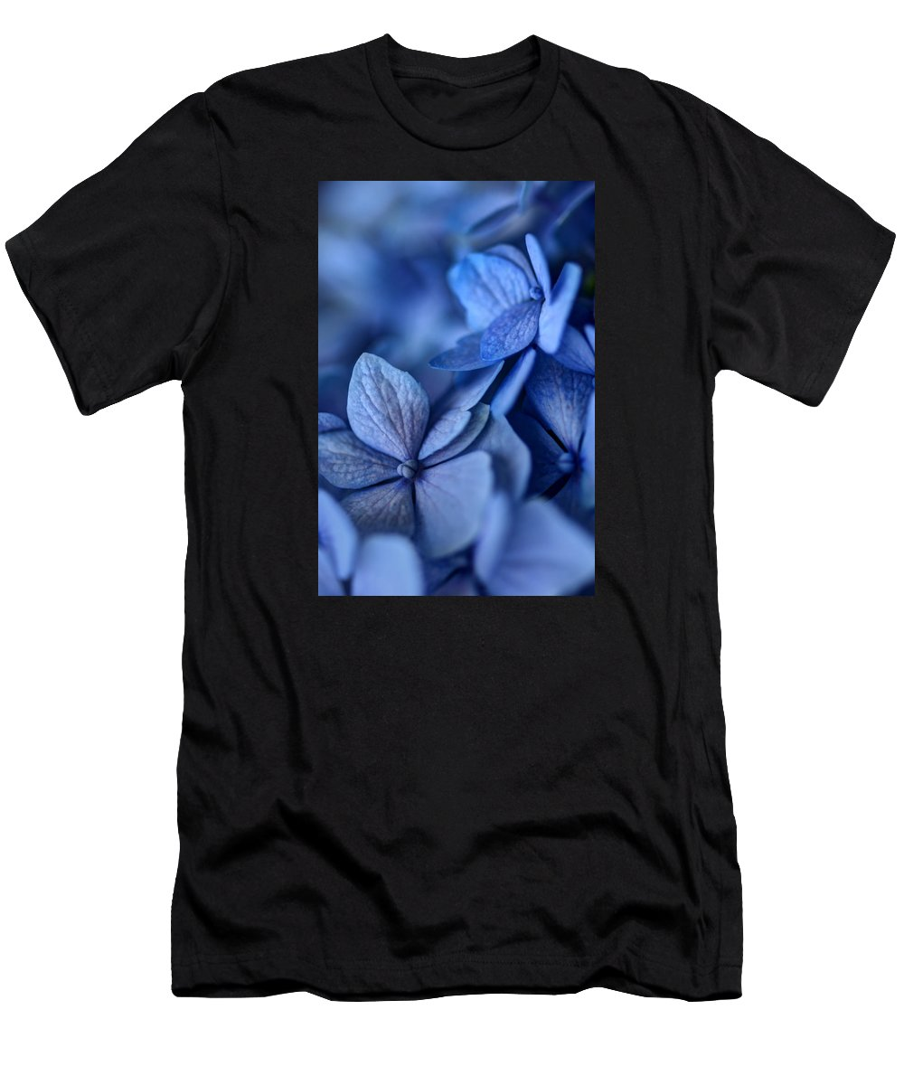 Hydrangea Men's T-Shirt (Athletic Fit) featuring the photograph When You're Feeling Blue by Nikolyn McDonald