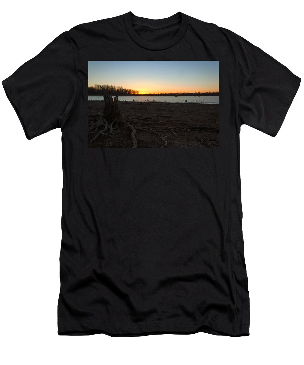 Ice Men's T-Shirt (Athletic Fit) featuring the photograph Where Did The Water Go by Thomas Sellberg