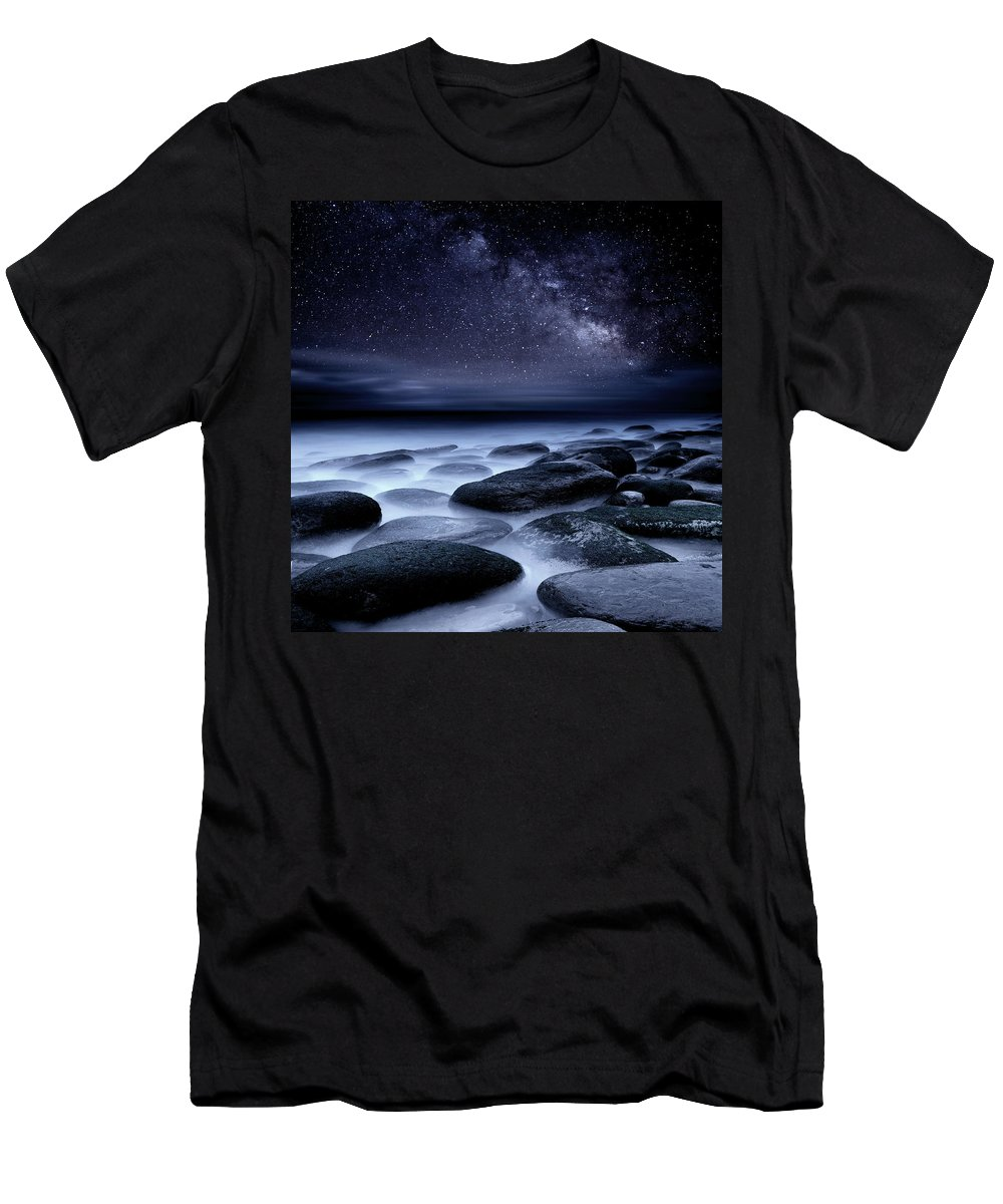 Night Men's T-Shirt (Athletic Fit) featuring the photograph Where No One Has Gone Before by Jorge Maia
