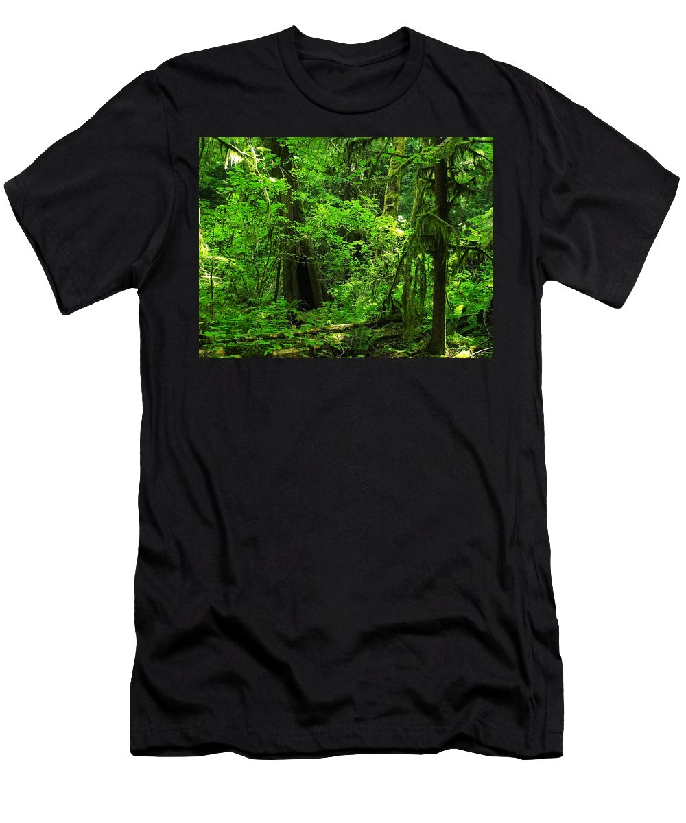 Green Men's T-Shirt (Athletic Fit) featuring the photograph Where The Forest People Live Revised by Teri Schuster