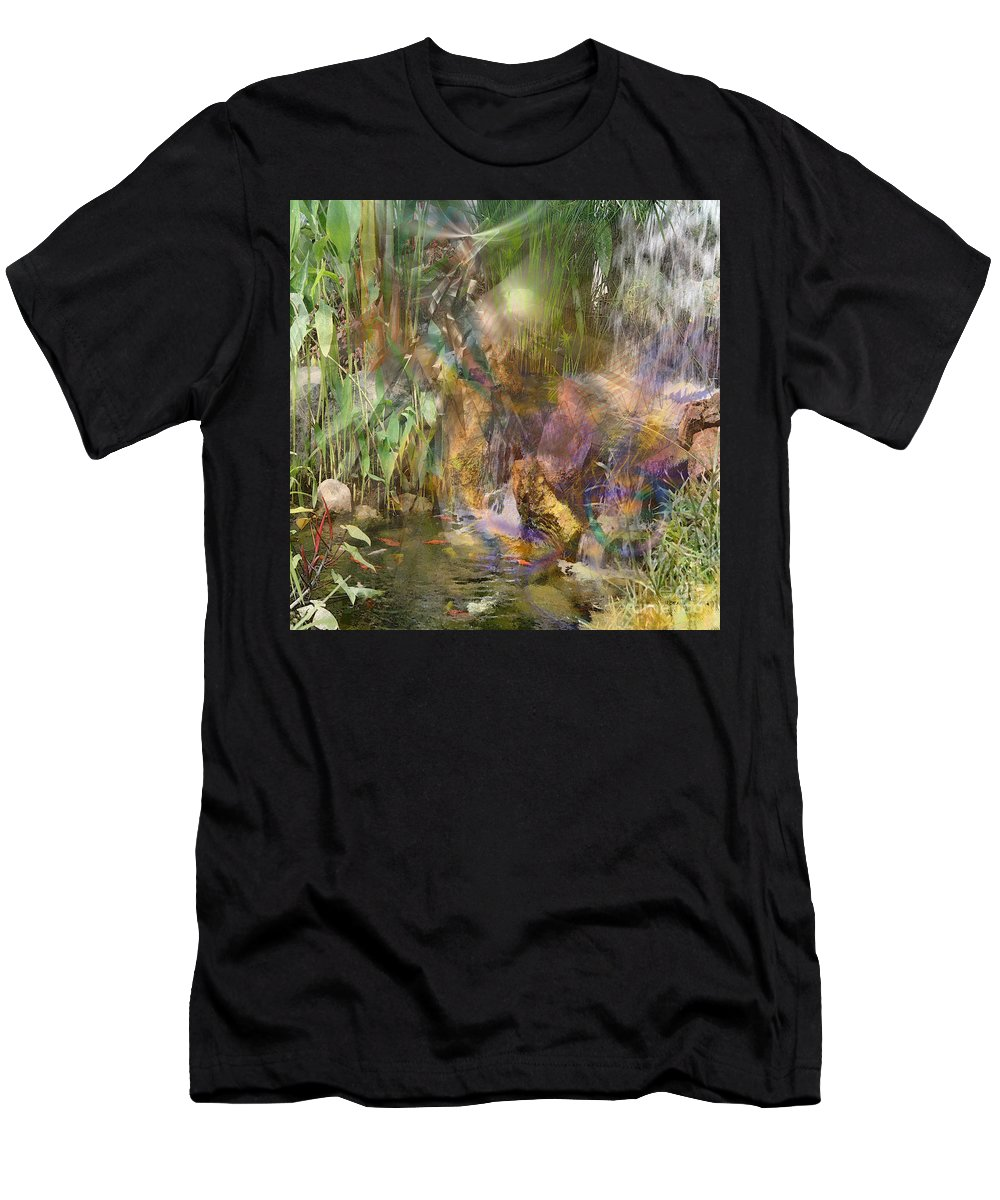 Floral Men's T-Shirt (Athletic Fit) featuring the digital art Whispering Waters - Square Version by John Beck