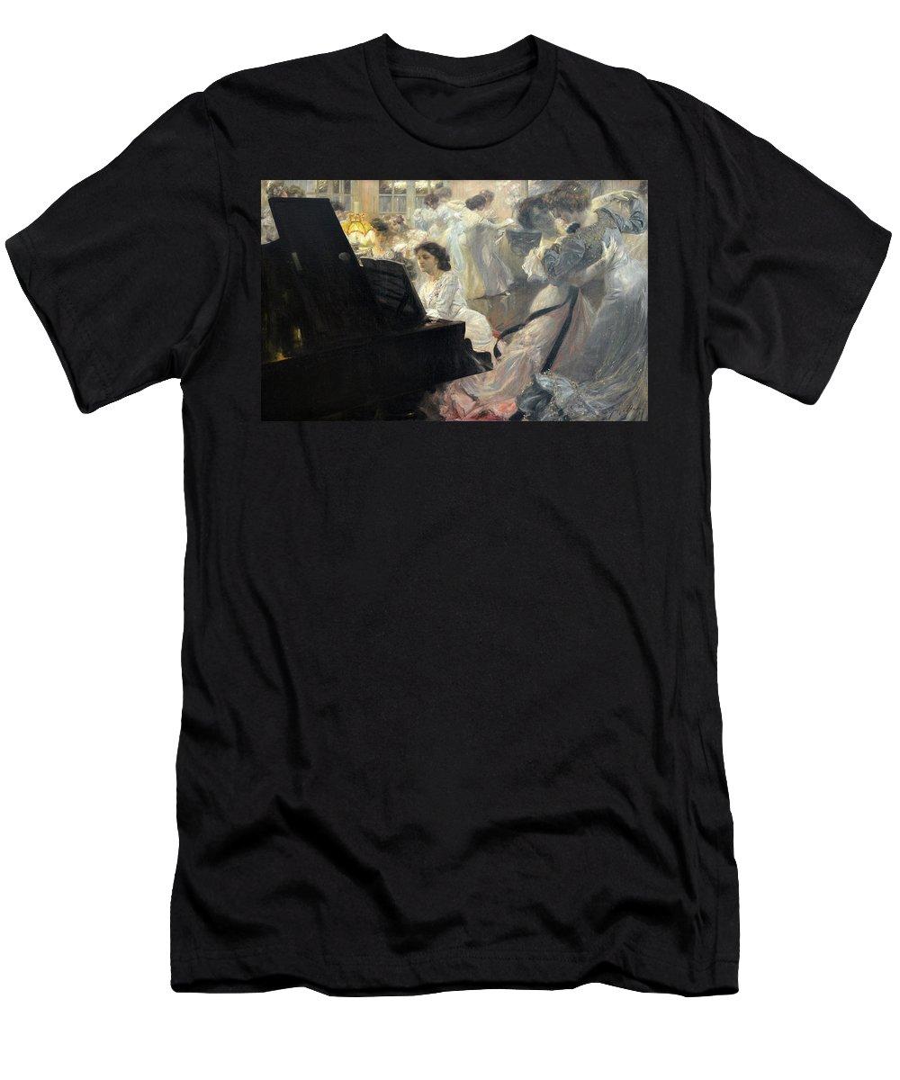 Joseph Marius Avy Men's T-Shirt (Athletic Fit) featuring the painting White Ball by Joseph Marius Avy