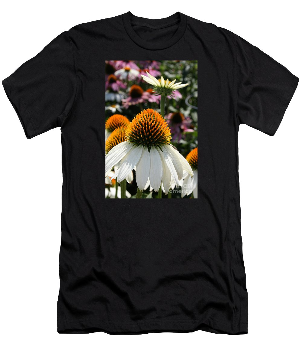 Flower Men's T-Shirt (Athletic Fit) featuring the photograph White Cone Flower by Kathy DesJardins
