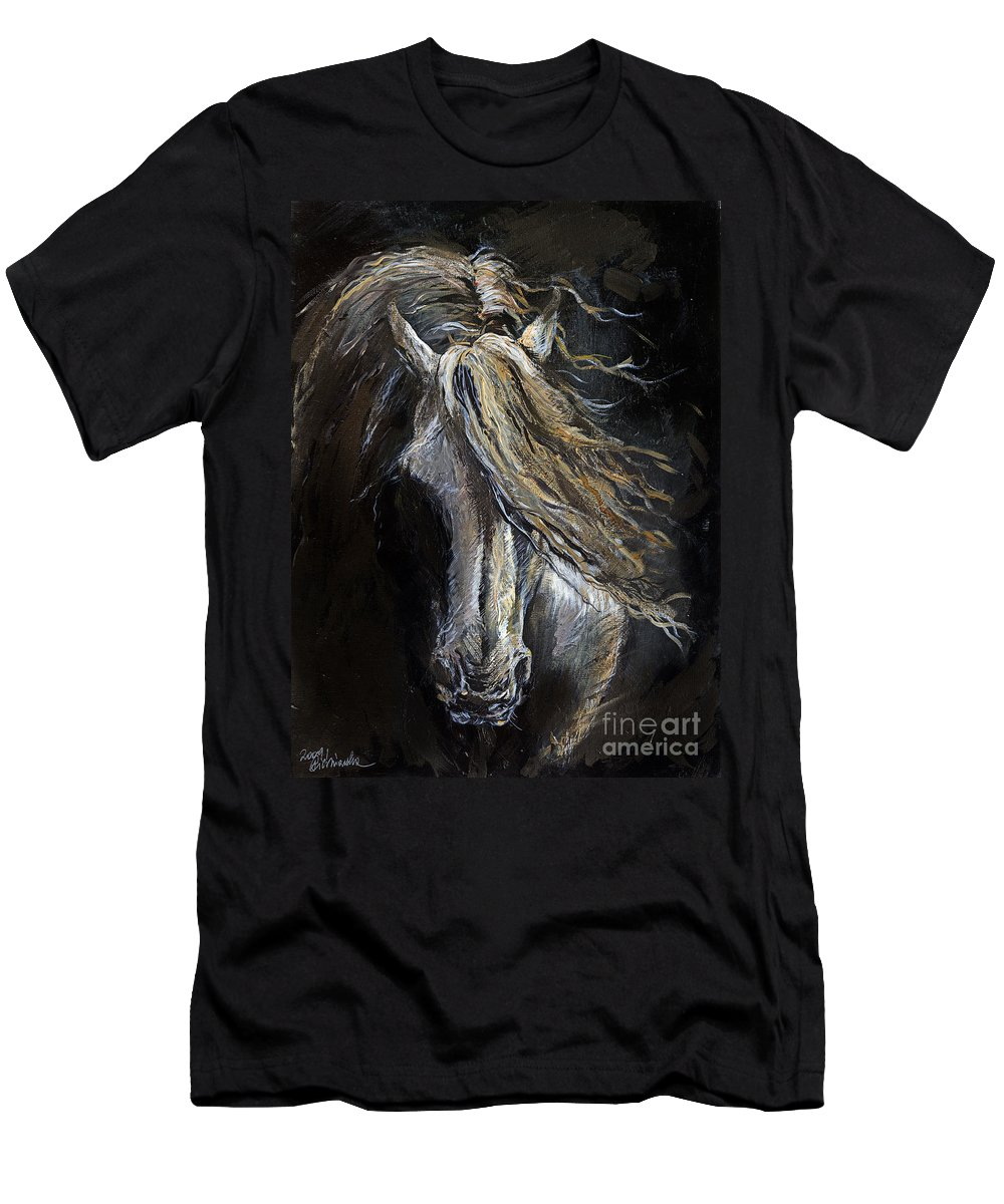 Horse Men's T-Shirt (Athletic Fit) featuring the painting White Ghost by Angel Ciesniarska