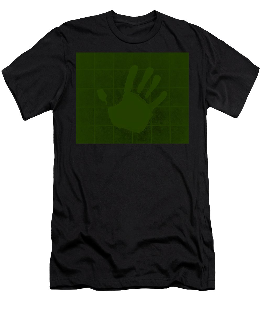 Hand Men's T-Shirt (Athletic Fit) featuring the photograph White Hand Olive Green by Rob Hans