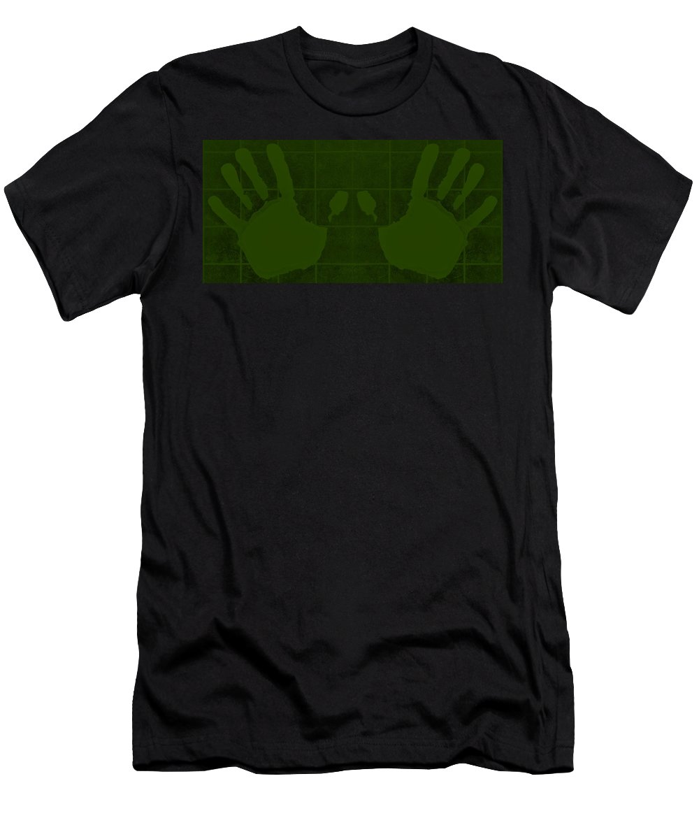 Hand Men's T-Shirt (Athletic Fit) featuring the photograph White Hands Olive Green by Rob Hans
