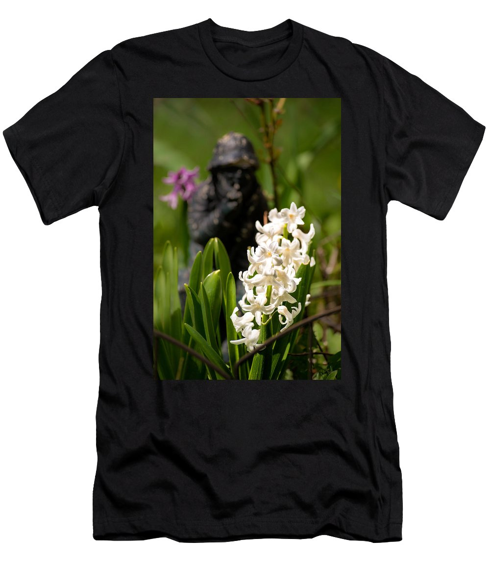 White Hyacinth;white Flower;fisherman;garden Art;hyacinthus;art Photography Men's T-Shirt (Athletic Fit) featuring the photograph White Hyacinth In The Garden by Onyonet Photo Studios
