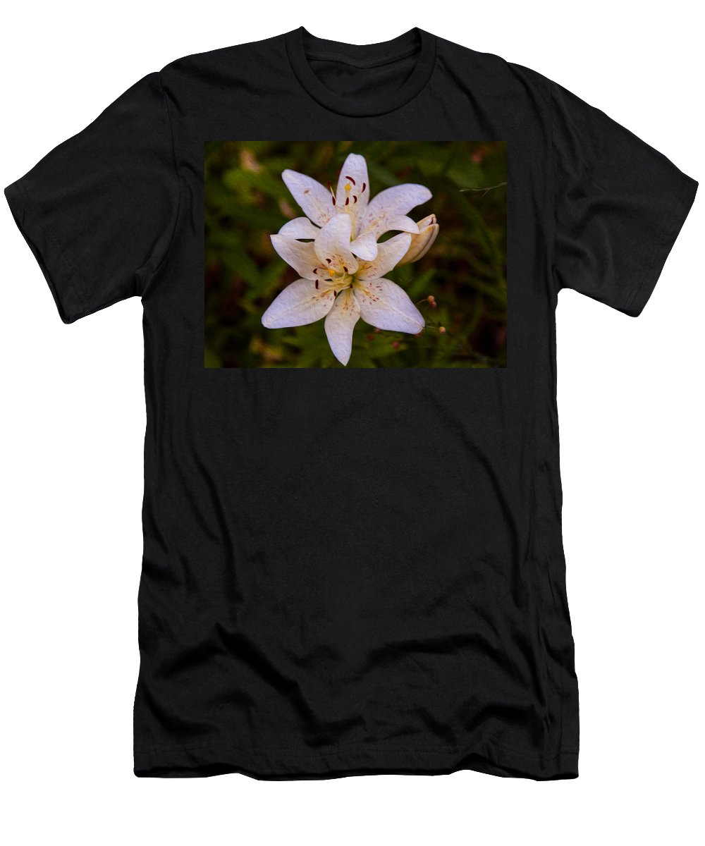 North Cascades Men's T-Shirt (Athletic Fit) featuring the painting White Lily Starburst by Omaste Witkowski