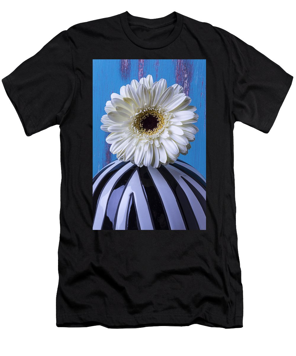 White Vase Gerbera Men's T-Shirt (Athletic Fit) featuring the photograph White Mum In Striped Vase by Garry Gay