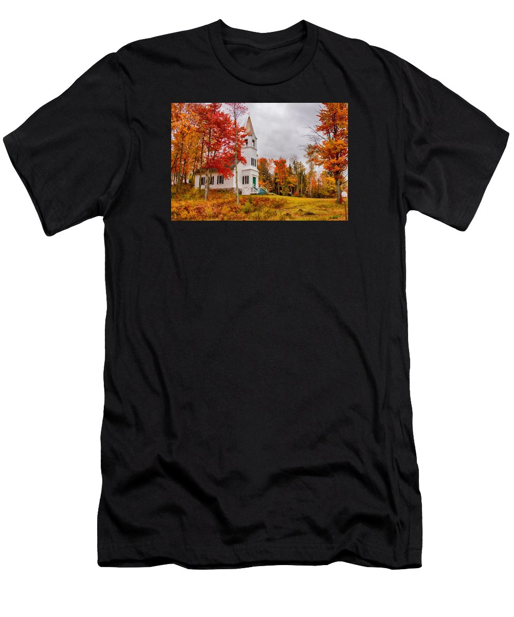 Autumn Foliage New England Men's T-Shirt (Athletic Fit) featuring the photograph White New Hampshire Church by Jeff Folger