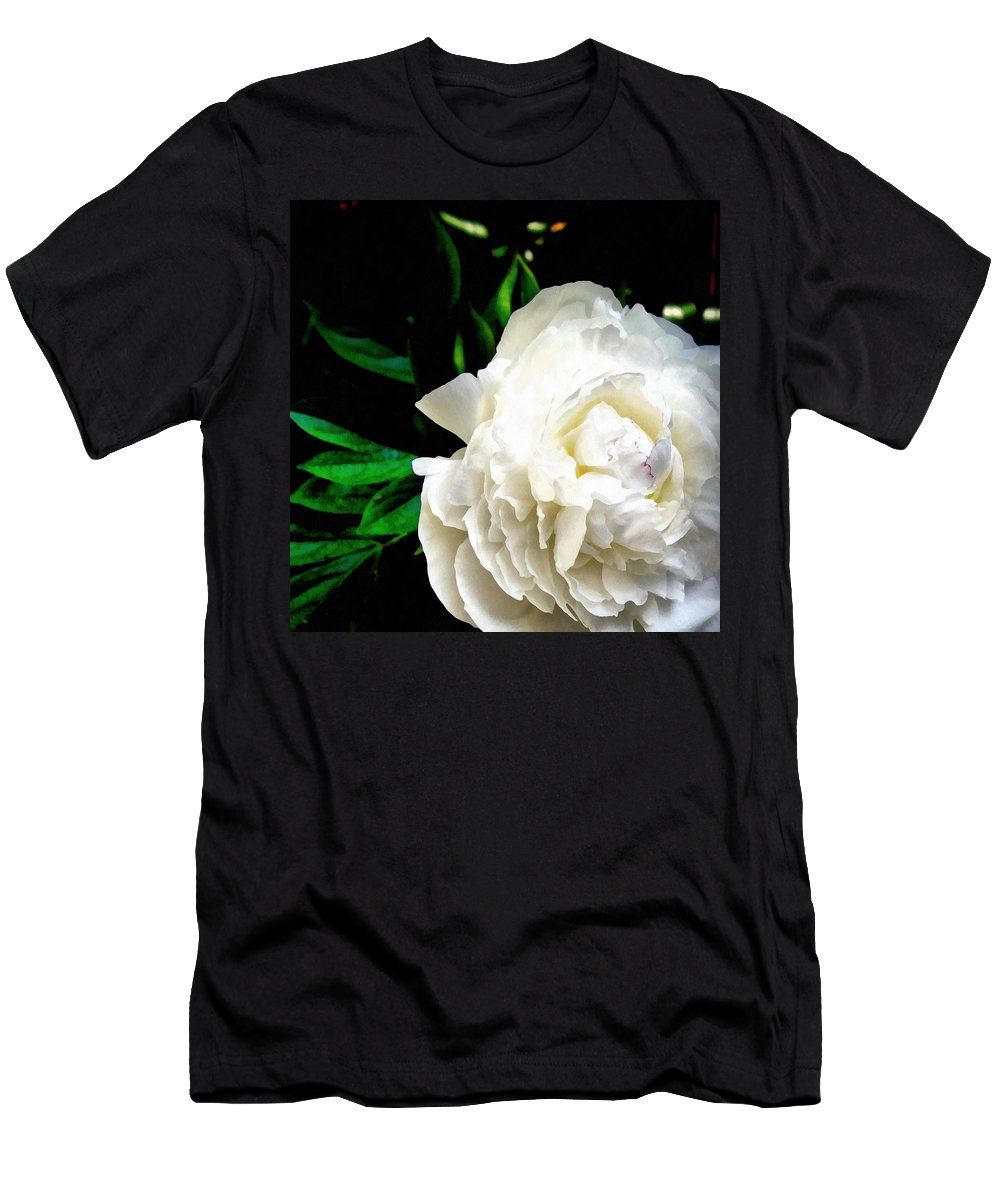 Peony Men's T-Shirt (Athletic Fit) featuring the photograph White Peony by Michelle Calkins