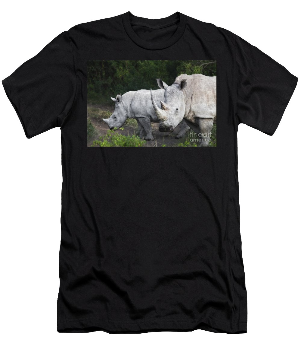 Africa Men's T-Shirt (Athletic Fit) featuring the photograph White Rhinos by Timothy Hacker
