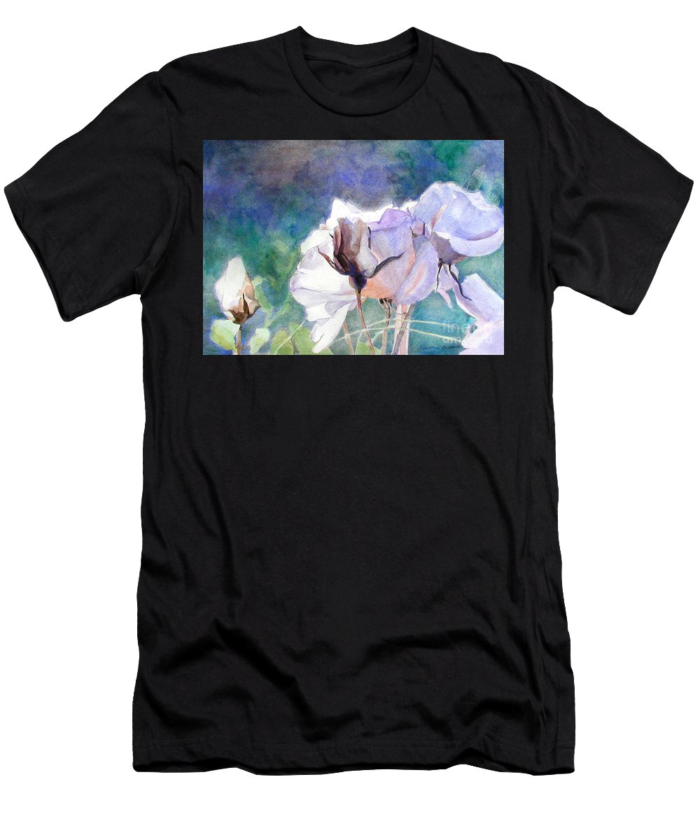 White Roses Men's T-Shirt (Athletic Fit) featuring the painting White Roses In The Shade by Greta Corens