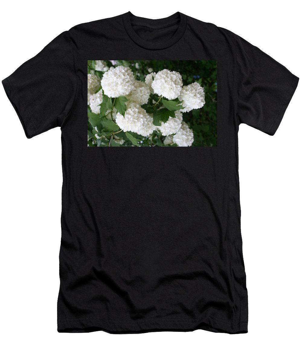 White Snowball Men's T-Shirt (Athletic Fit) featuring the photograph White Snowball Bush by Christiane Schulze Art And Photography