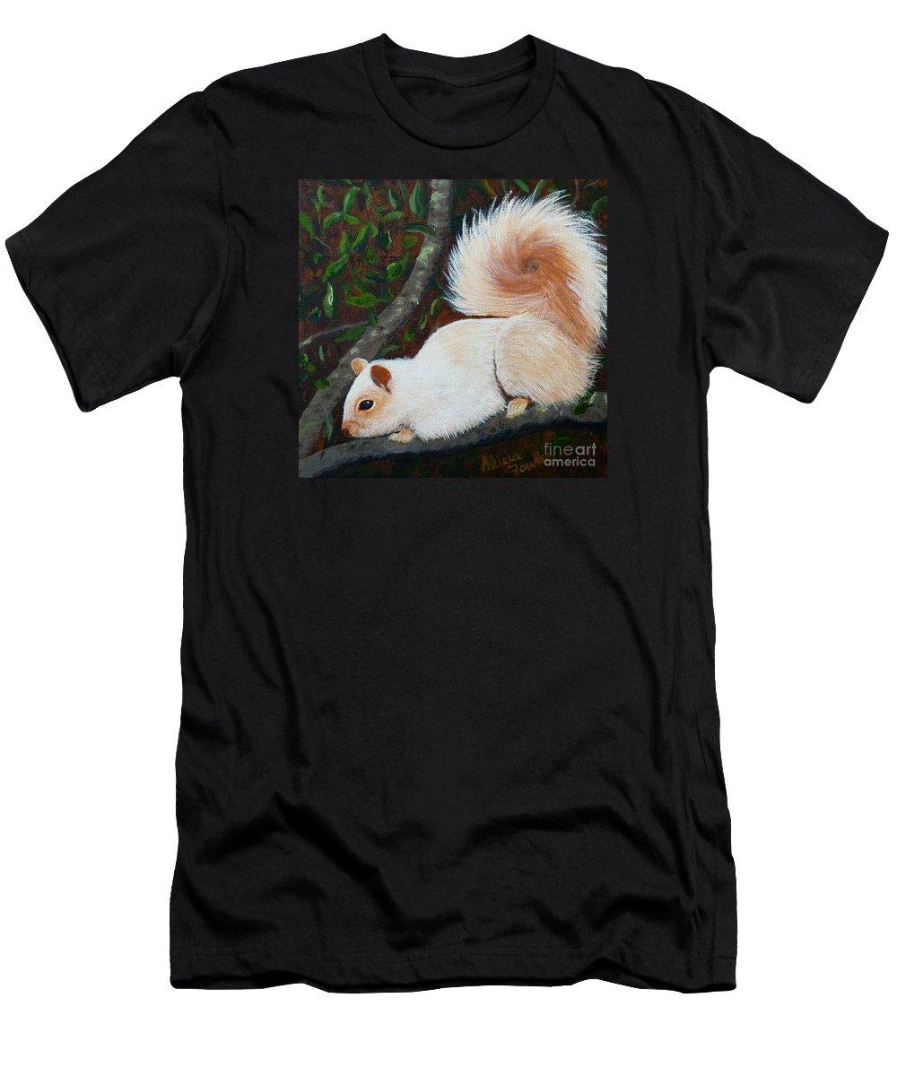 Squirrel T-Shirt featuring the painting White Squirrel Of Sooke by Alicia Fowler