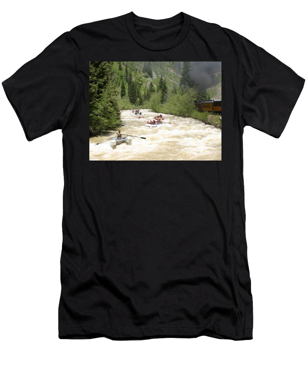 White Water Excitment Along The Animas River Shot From The Durango-silverton Steam Train Men's T-Shirt (Athletic Fit) featuring the photograph Animas River White Water Rafting The by Jack Pumphrey
