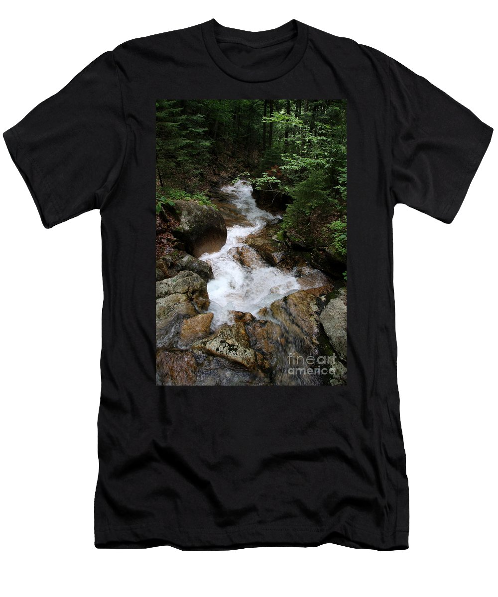 Granite Bolder Men's T-Shirt (Athletic Fit) featuring the photograph White Waters Over Granite Bolder by Christiane Schulze Art And Photography