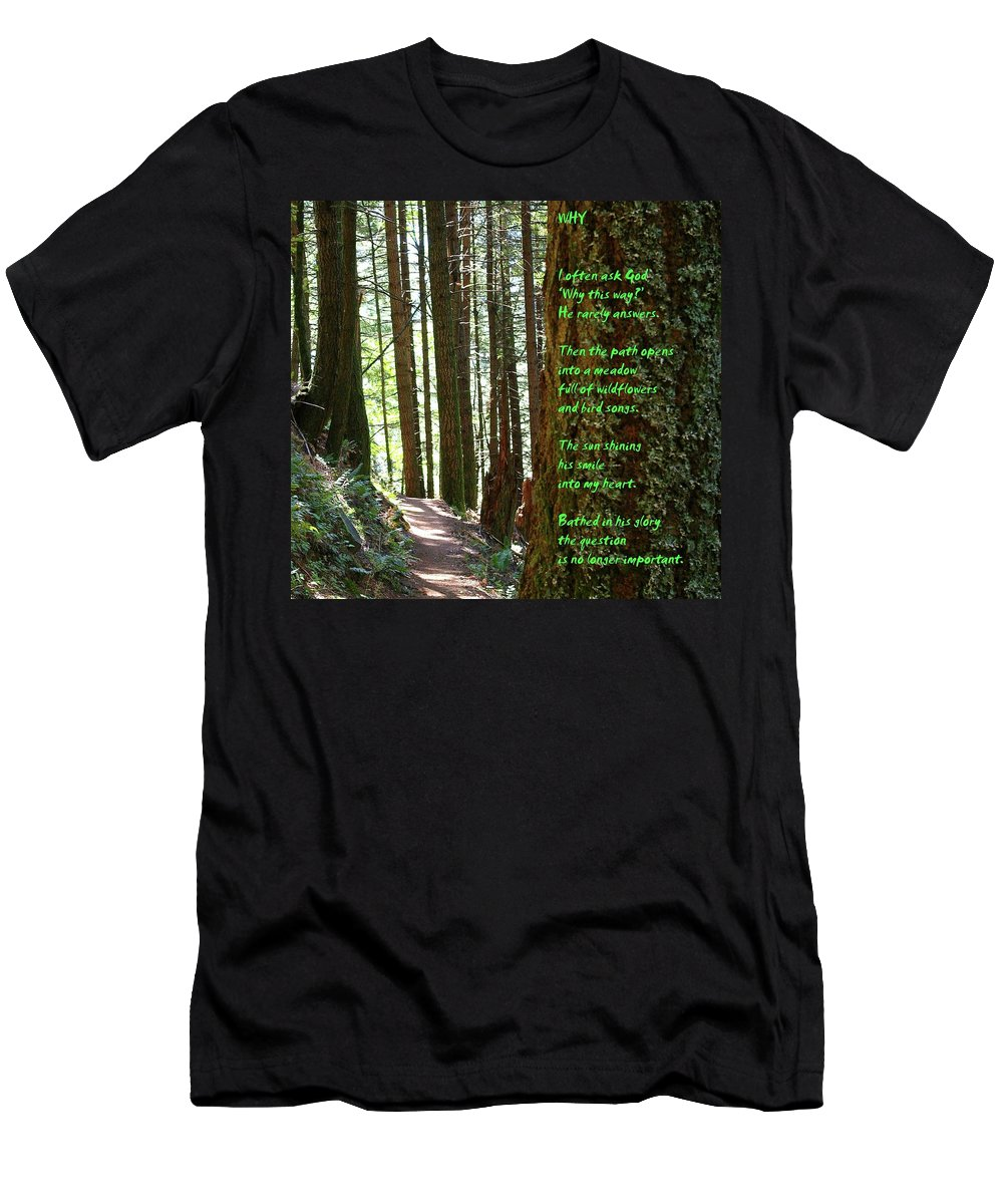 Trees T-Shirt featuring the photograph Why by Jeff Swan