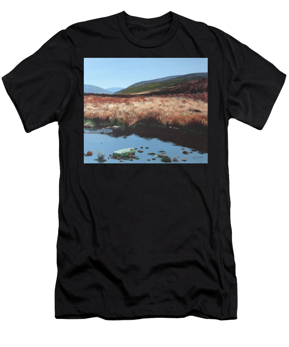 Irish Men's T-Shirt (Athletic Fit) featuring the painting Wicklow Bogscape by Tony Gunning
