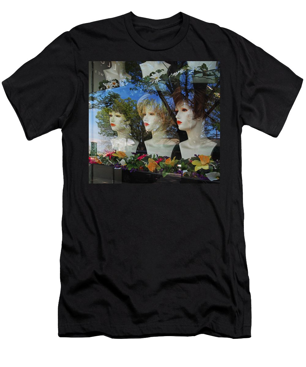 Window Men's T-Shirt (Athletic Fit) featuring the photograph Wig Shop Window by John Cardamone