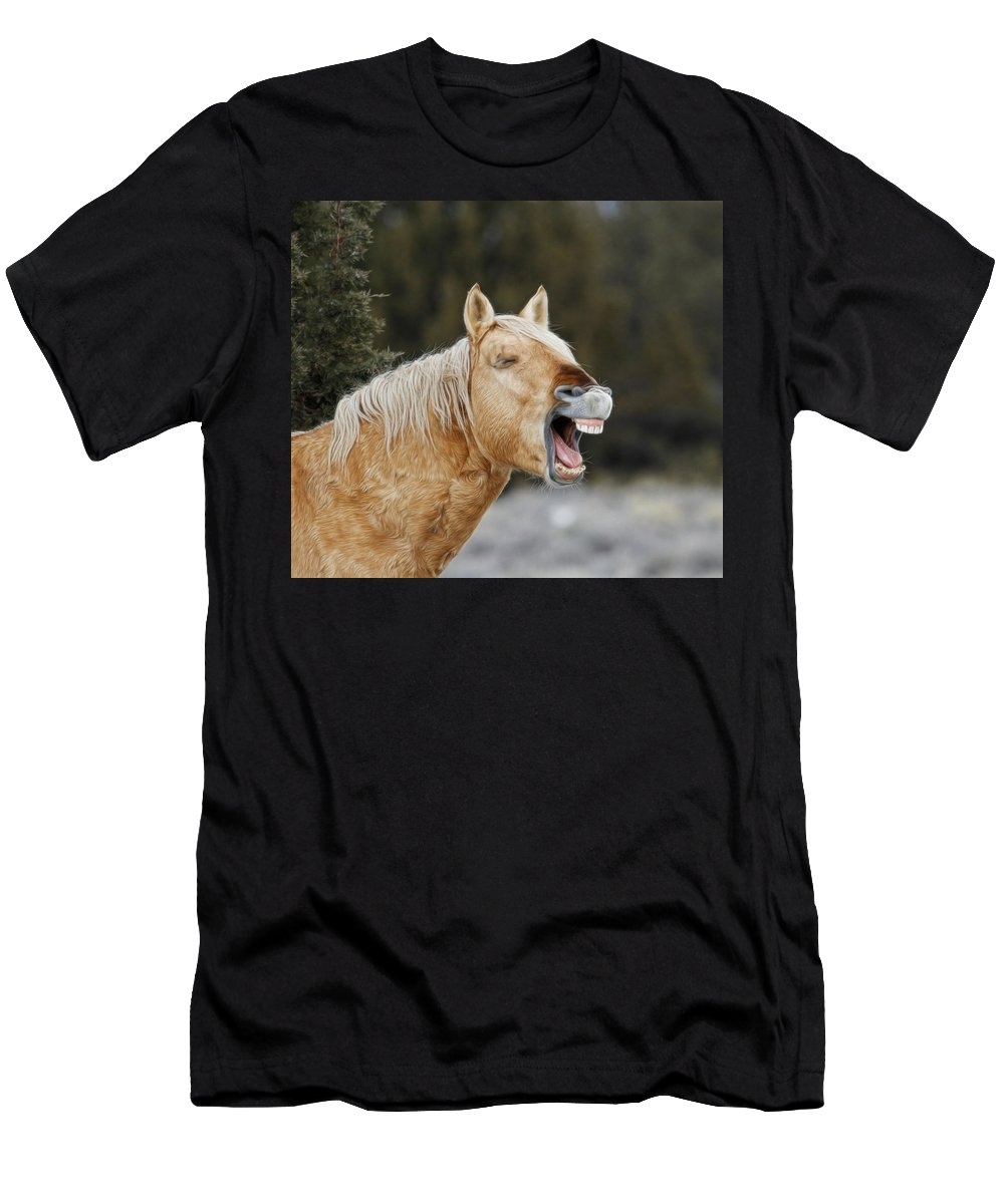 Wild Horses Men's T-Shirt (Athletic Fit) featuring the photograph Wild Horse Chuckle by Steve McKinzie