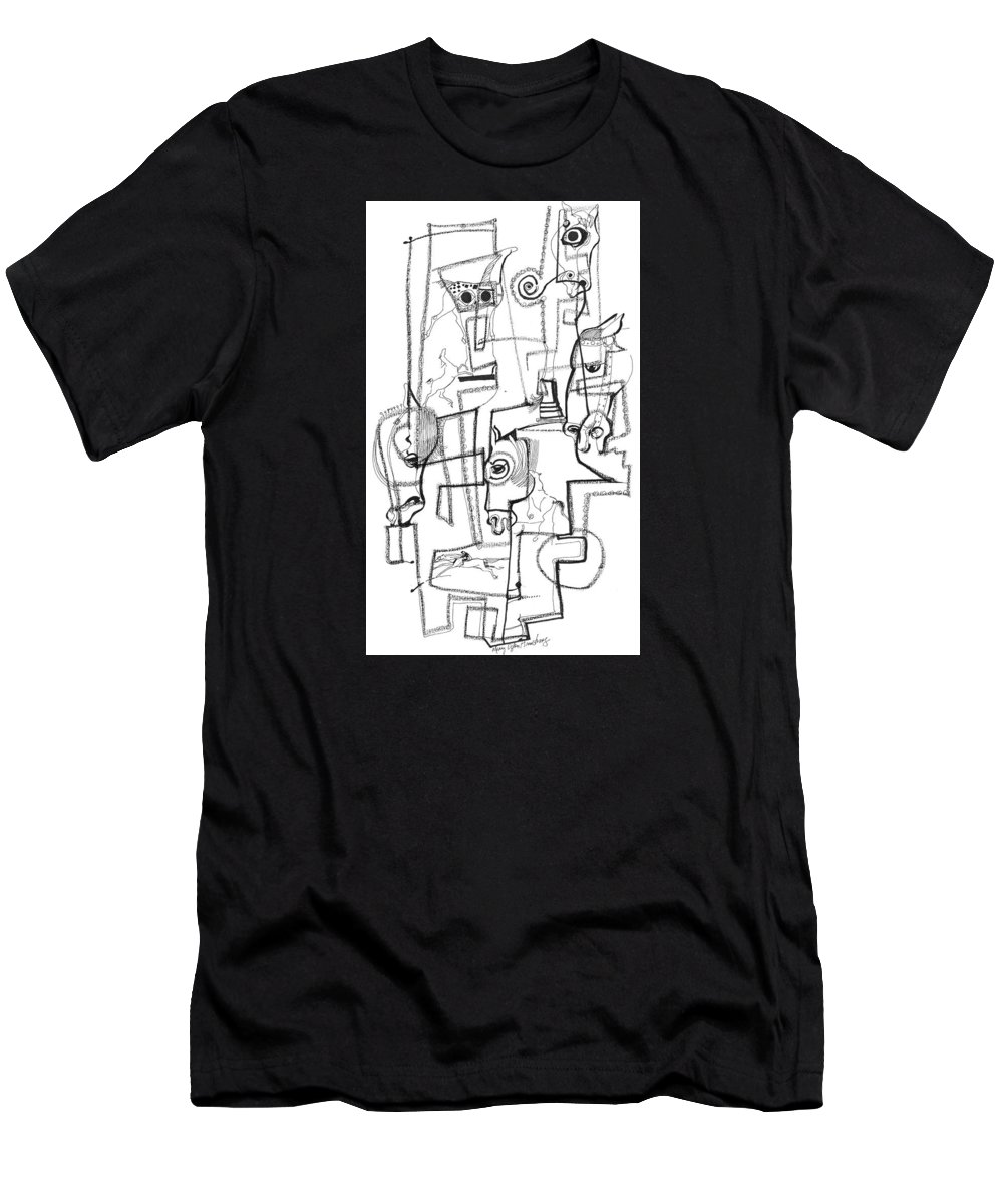 Mary Ogden Armstrong Men's T-Shirt (Athletic Fit) featuring the drawing Wild Horse Day by Mary Armstrong