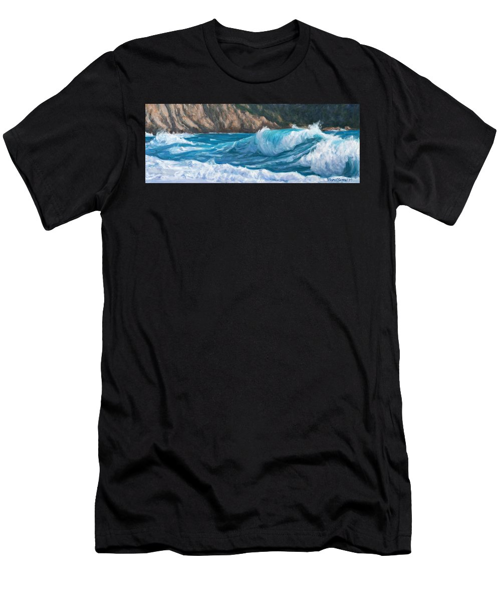 Sea Men's T-Shirt (Athletic Fit) featuring the painting Wild Waves by Marco Busoni