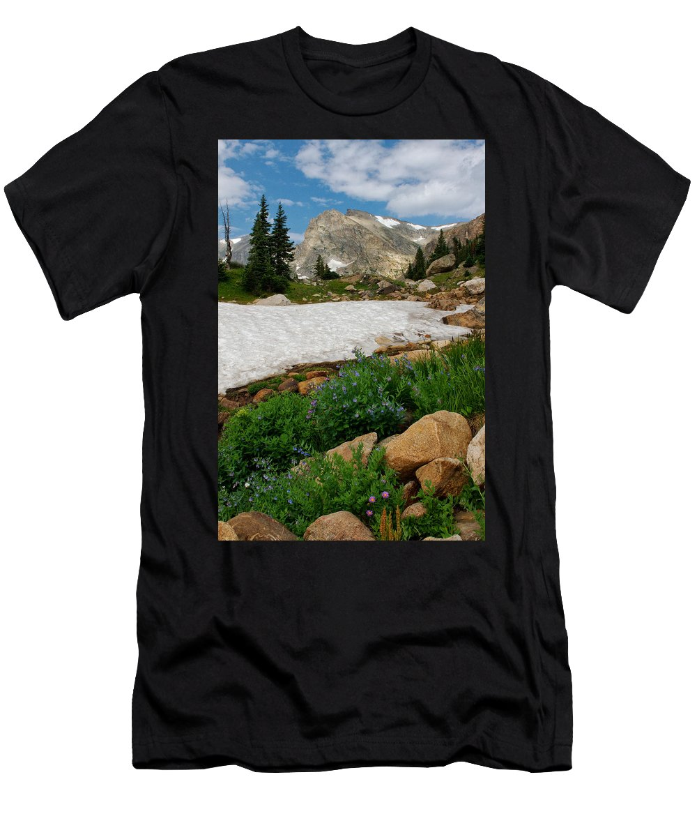 Landscape Men's T-Shirt (Athletic Fit) featuring the photograph Wildflowers In The Indian Peaks Wilderness by Ronda Kimbrow