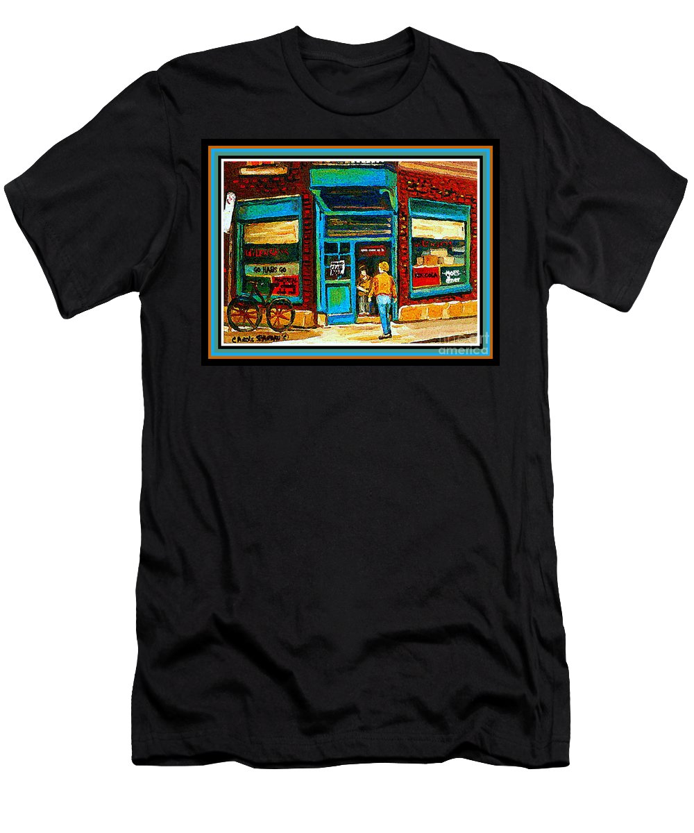 Wilenskys Deli Montreal Memories Men's T-Shirt (Athletic Fit) featuring the painting Wilenskys Art Famous Blue Door Posters Prints Cards Originals Commission Montreal Painting Cspandau by Carole Spandau
