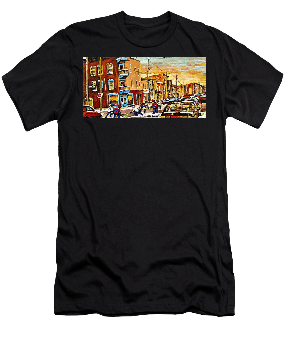 Wilenskys Deli Men's T-Shirt (Athletic Fit) featuring the painting Wilenskys Hockey Paintings Montreal Commissions Originals Prints Contact Artist Carole Spandau by Carole Spandau