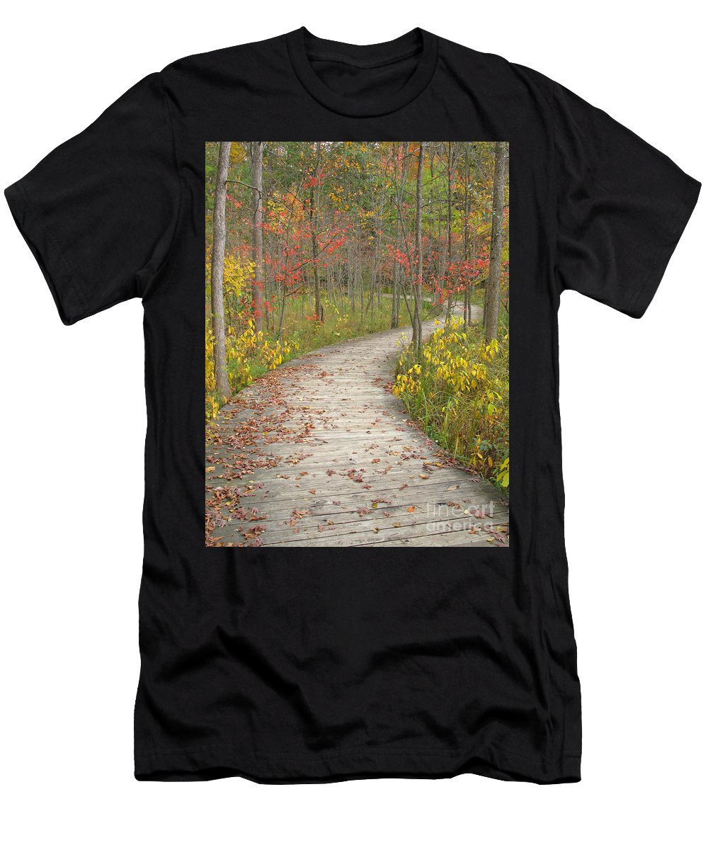 Autumn Men's T-Shirt (Athletic Fit) featuring the photograph Winding Woods Walk by Ann Horn