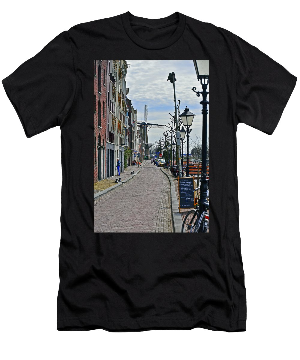 Travel Men's T-Shirt (Athletic Fit) featuring the photograph Windmill At The End Of The Street by Elvis Vaughn