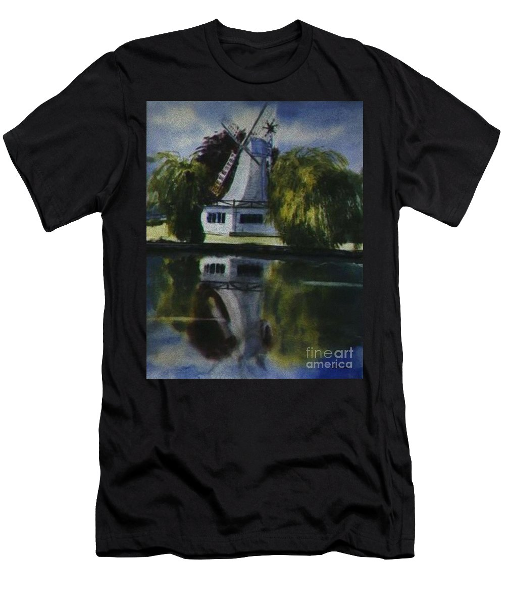 Windmill In The Willows Men's T-Shirt (Athletic Fit) featuring the painting Windmill In The Willows by Martin Howard