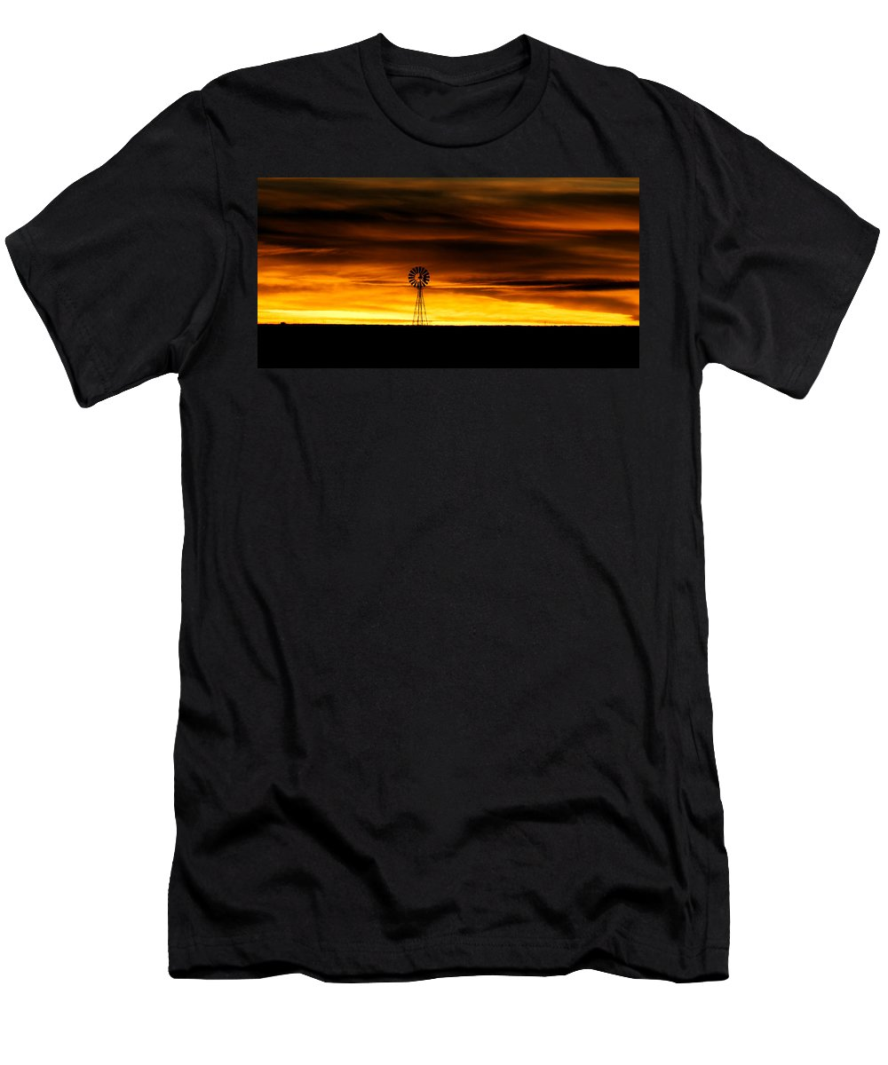 Windmill Men's T-Shirt (Athletic Fit) featuring the photograph Windmill Sunset by Gary Langley