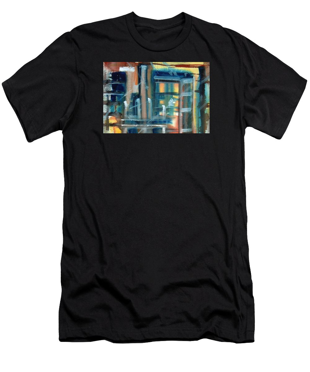 Window Men's T-Shirt (Athletic Fit) featuring the painting Window Abstract by Katherine Berlin