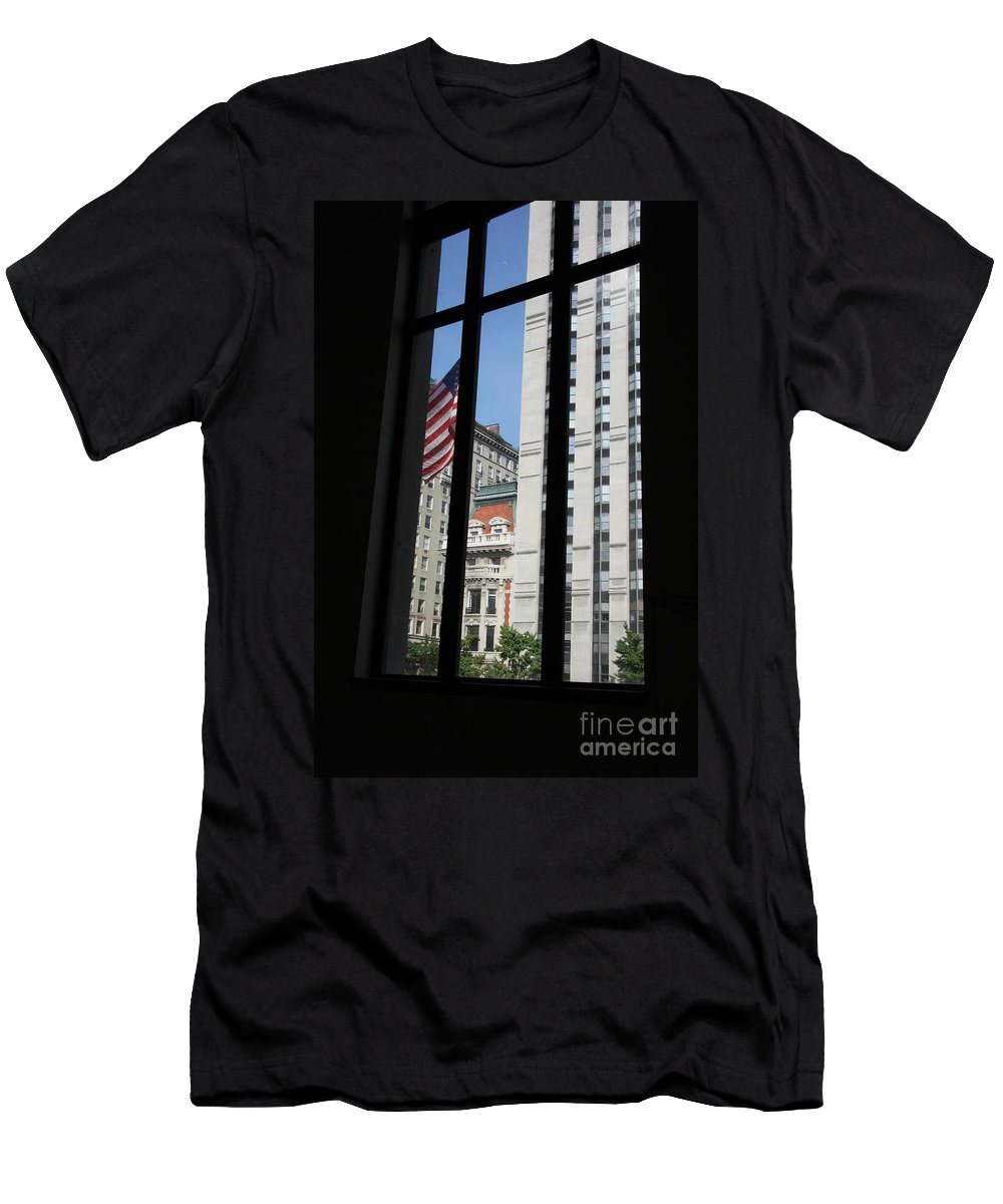 Window Men's T-Shirt (Athletic Fit) featuring the photograph Window View With Flag by Christiane Schulze Art And Photography