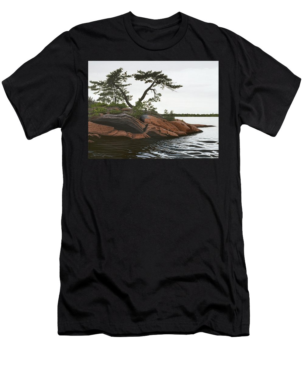 Landscape Paintings Men's T-Shirt (Athletic Fit) featuring the painting Windswept by Kenneth M Kirsch