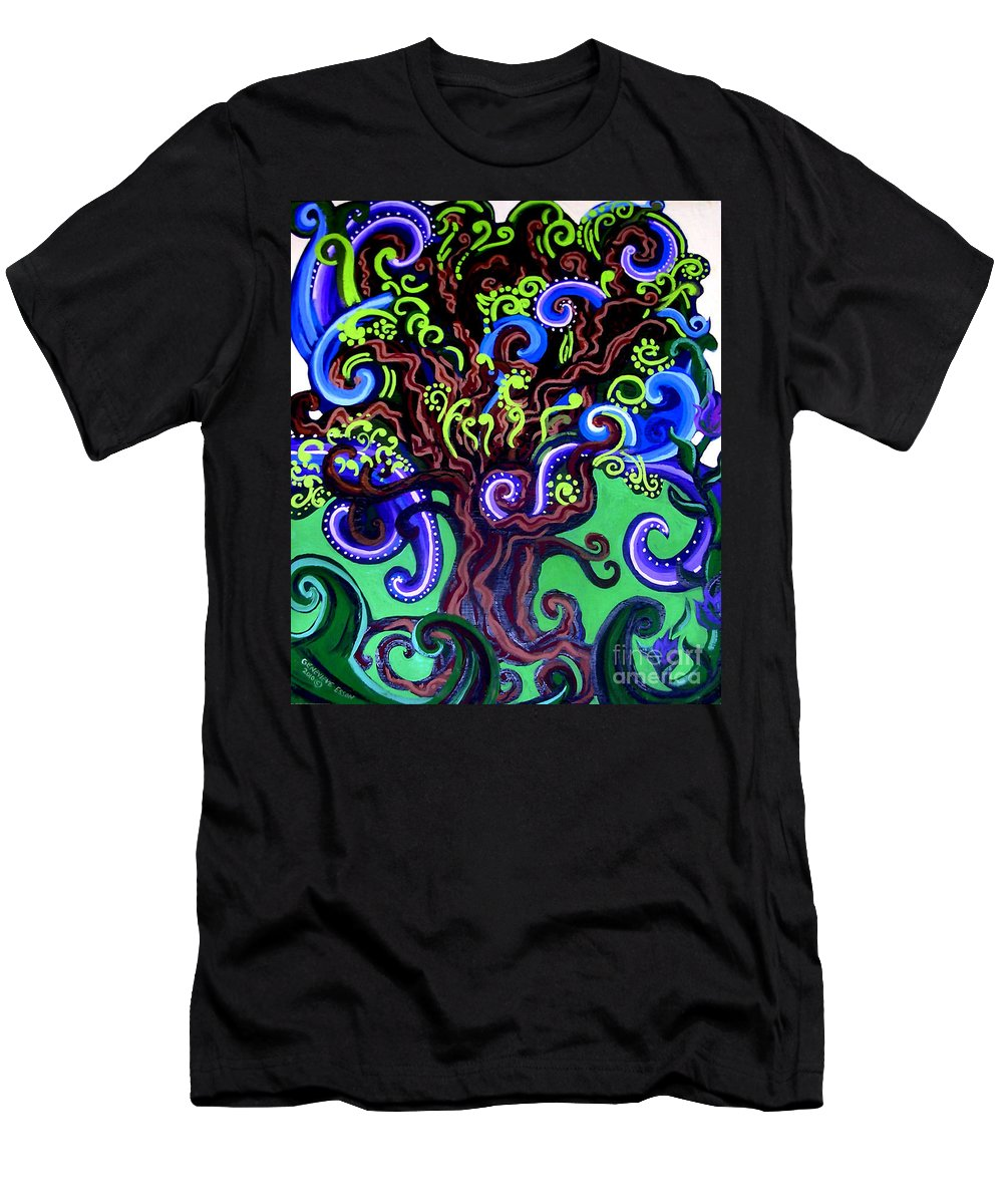 Tree Men's T-Shirt (Athletic Fit) featuring the painting Windy Blue Green Tree by Genevieve Esson