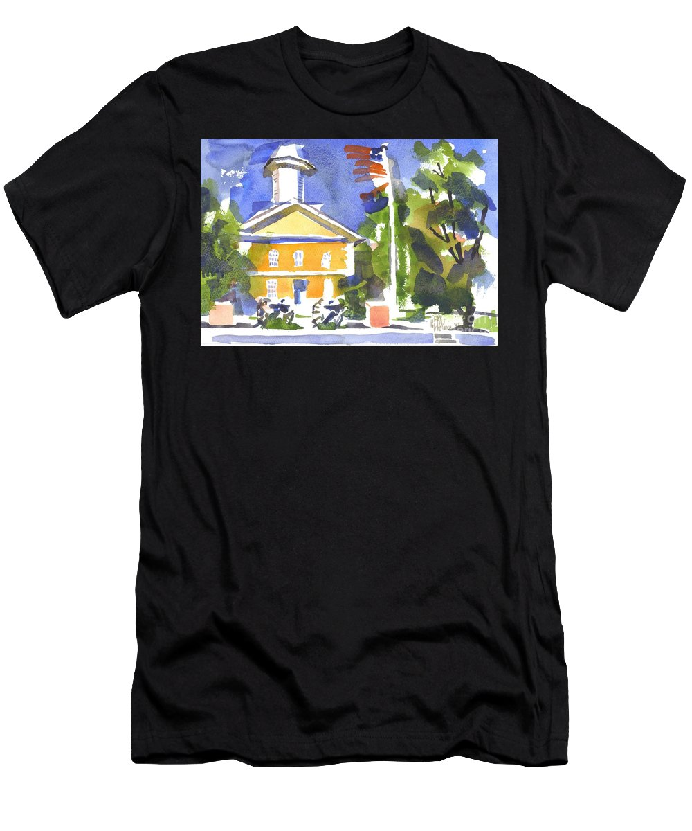 Windy Day At The Courthouse Men's T-Shirt (Athletic Fit) featuring the painting Windy Day At The Courthouse by Kip DeVore