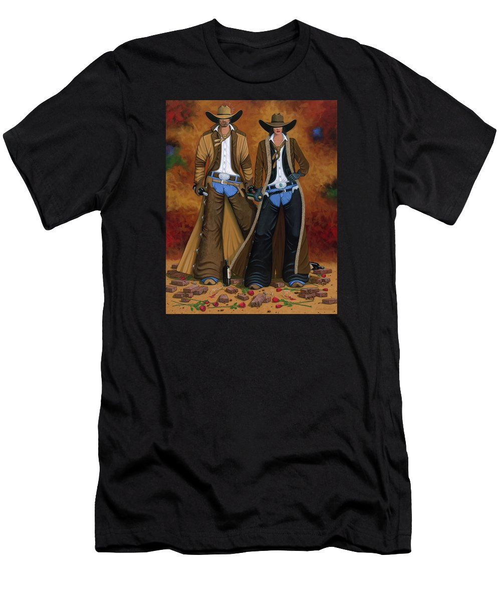 Cowgirl Men's T-Shirt (Athletic Fit) featuring the painting Wine And Roses by Lance Headlee