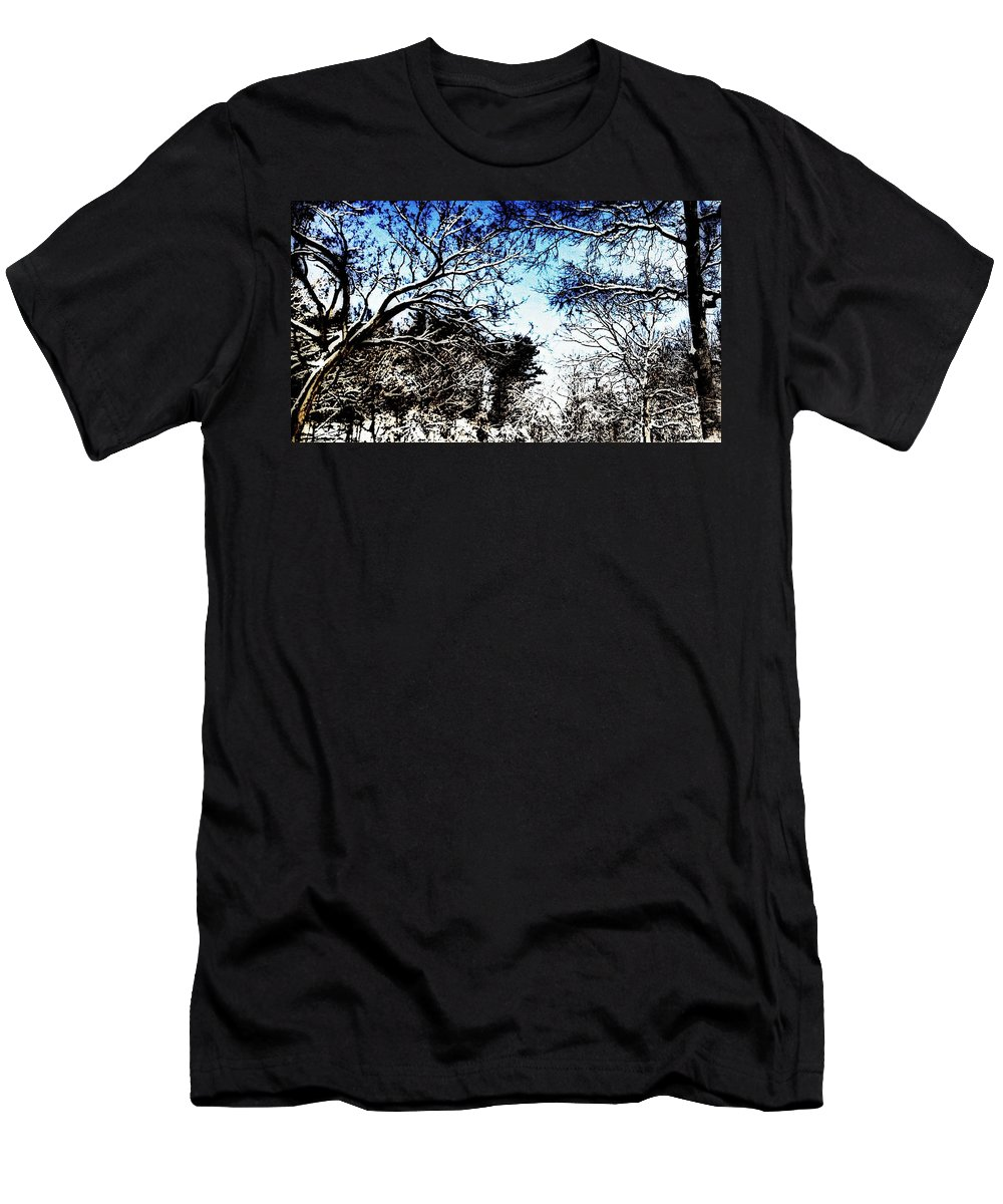 Winter Men's T-Shirt (Athletic Fit) featuring the photograph Winter Along The Bronx River by Paulo Guimaraes