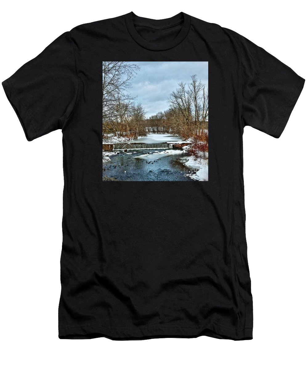 Mattabesset Men's T-Shirt (Athletic Fit) featuring the photograph Winter At The Mattabeset River by Marcel J Goetz Sr
