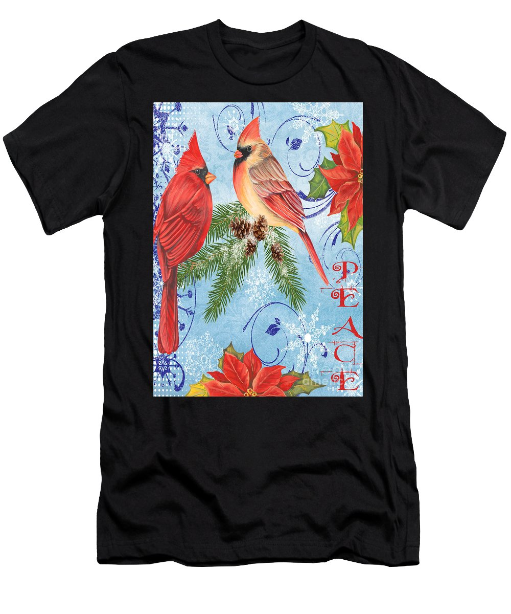 Watercolor Painting Men's T-Shirt (Athletic Fit) featuring the mixed media Winter Blue Cardinals-peace Card by Jean Plout