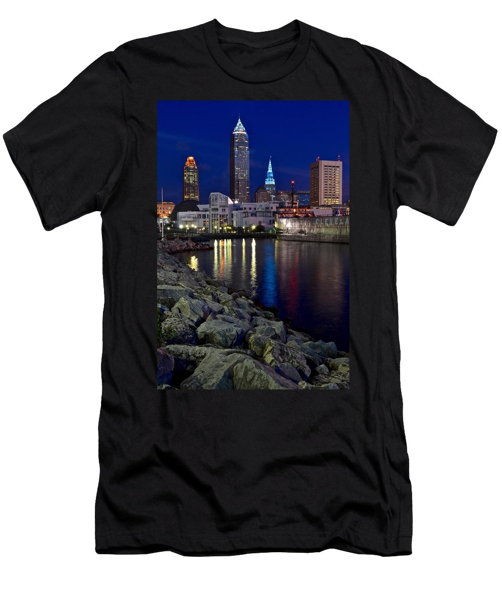 City Men's T-Shirt (Athletic Fit) featuring the photograph Winter Glow by Frozen in Time Fine Art Photography